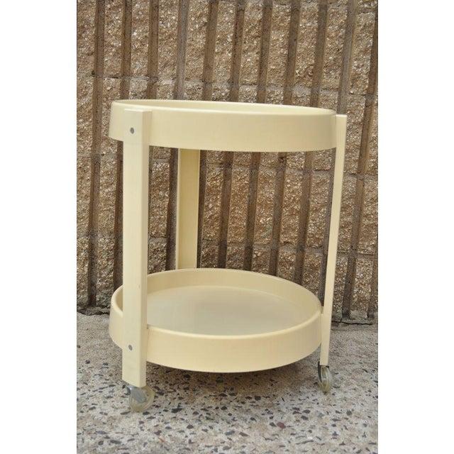 Vintage Joe Colombo Style Mid Century Modern Plastic Round Bar Tea Cart - Image 4 of 11