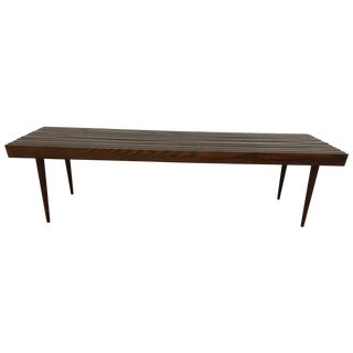 Mid-Century Solid Wood Slatted Bench