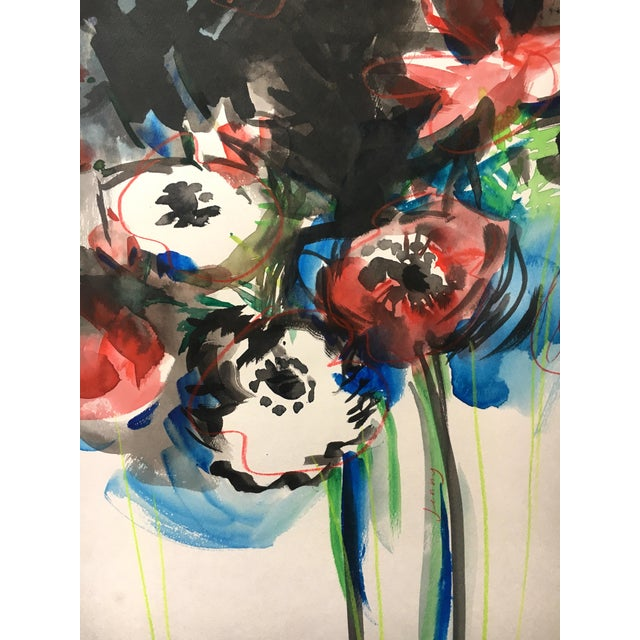 Jenny Vorwaller Red Poppies Watercolor Painting - Image 3 of 3