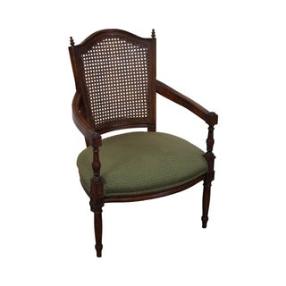 Quality French Louis XVI Style Cane Back Arm Chair