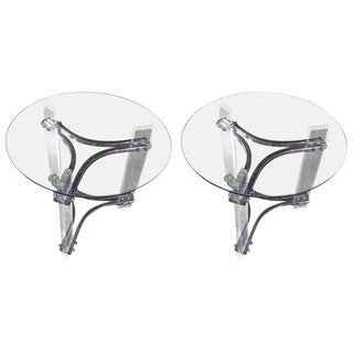 Mid-Century Modern Lucite, Chrome, and Glass Side Tables - A Pair