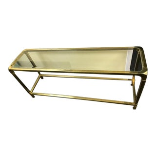 Mid Century Modern Glass and Brass Console Table