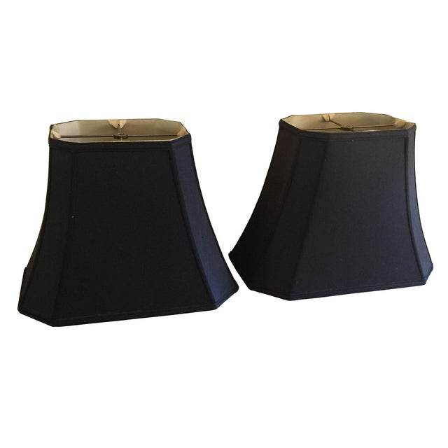 Mid-Century Black Silk Lamp Shades - A Pair - Image 1 of 11