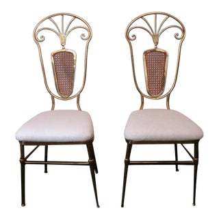 Glamorous Pair of Italian Brass and Woven Wicker Chairs