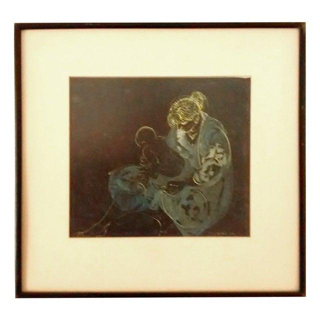 Abstract Painting Joe Capozio Woman Child - Image 1 of 7