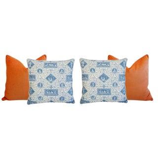 Tangerine Orange Velvet & Brunschwig & Fils Feather/Down Pillows - Set of 4