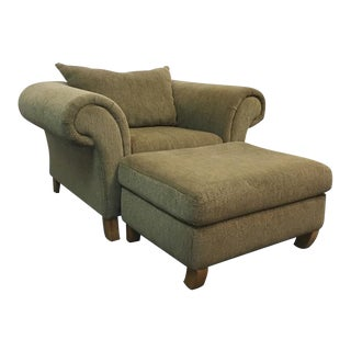 Contemporary Upholstered Armchair & Ottoman Set