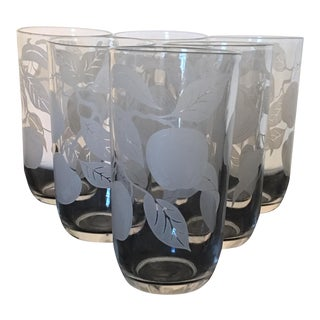 Vintage Frosted Apple Pattern Glassware - Set of 6