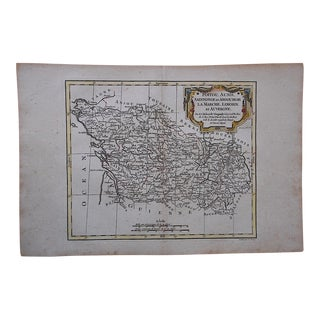18th C. Antique Map -France-Poitou, Aunis...Auvergne
