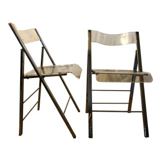 Mid-Century Bent Lucite Folding Chairs - A Pair