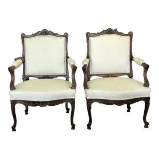 French Wood Carved Upholstered Arm Chairs - a Pair