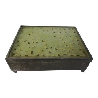 Chinese Engraved Lotus Flower Pewter Box