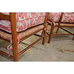 Image of Ikat French Ladderback Cushioned Rush Seat Chairs - A Pair