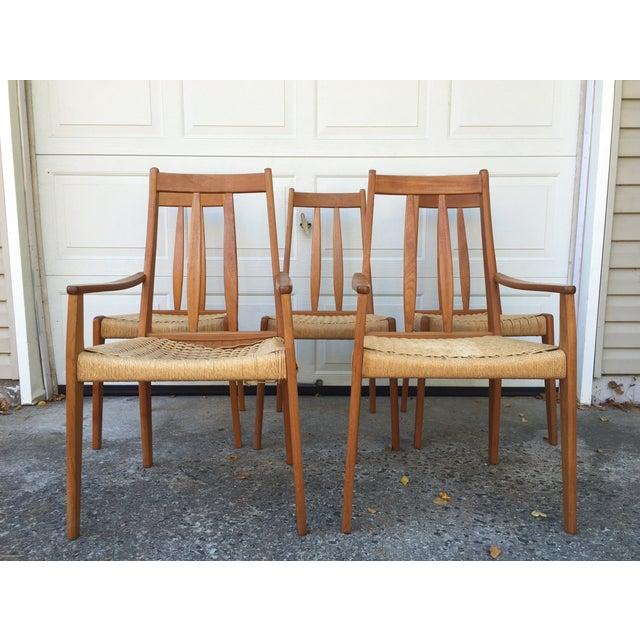 Danish Teak Dining Chairs W/Rope Seats - Set of 5 - Image 5 of 9