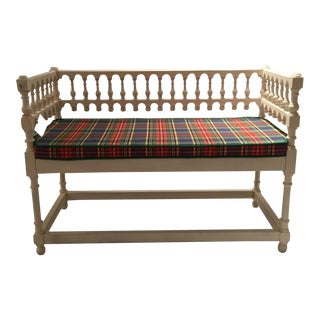 White Bench With Plaid Cushion and Contrast Piping