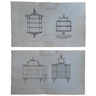 Antique Folio Chippendale Furniture Prints - Pair