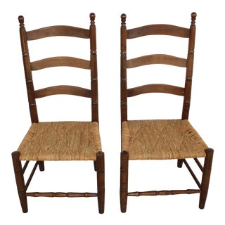 Antique Rush Seat Chairs - A Pair