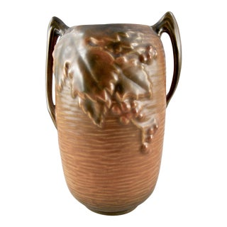 Roseville Bushberry Russet Brown Two Handle Vase