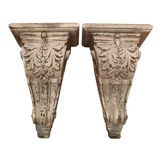 Large White Acanthus Leaf Wall Shelves - Pair