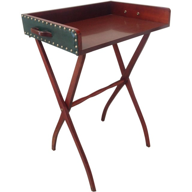 Mid-Century Leather Butler's Tray Table - Image 1 of 6