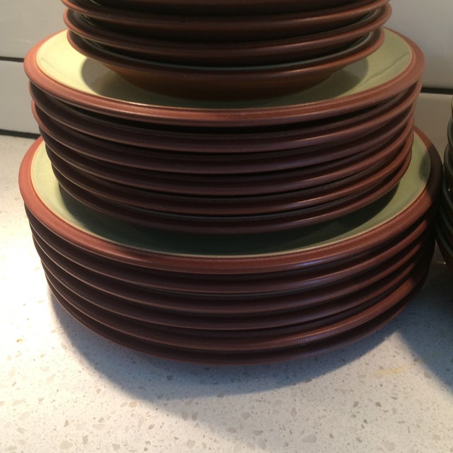 Green and Brown Dinnerware - Set of 6 - Image 6 of 9