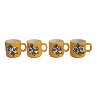 Mid-Century Painted Milk Glass Yellow Daisy Mugs - Set of 4