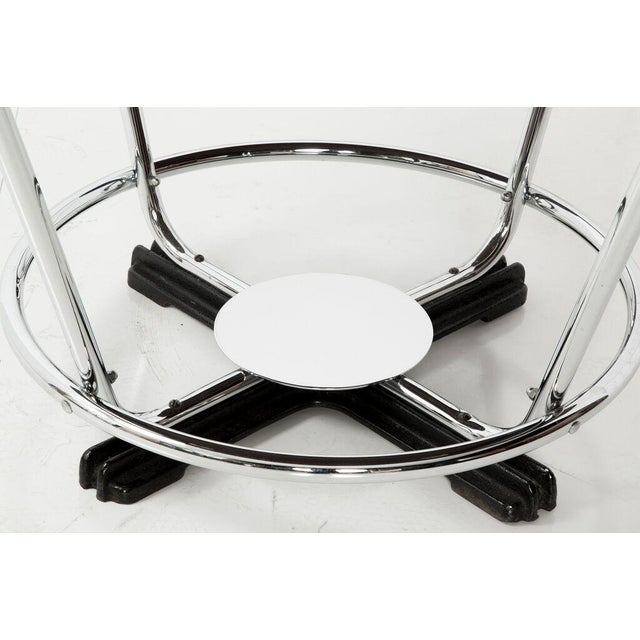 Image of Art Deco Black Glass & Chrome Breakfast Table