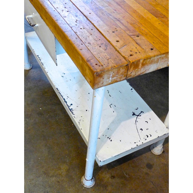 Image of White Iron Kitchen Island With Butcher Block