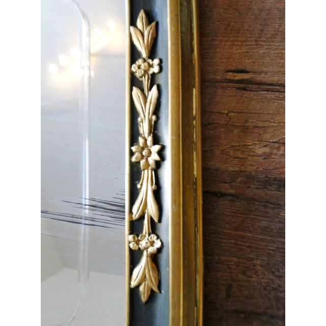 Vintage 1920's Etched Mirror With Gold Black Frame - Image 5 of 6