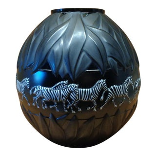 Lalique France Black Crystal Tanzania Zebra Vase