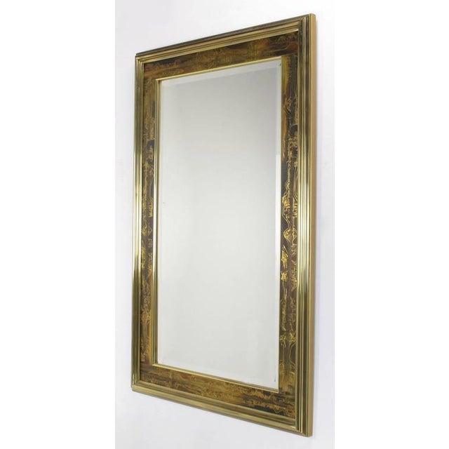 Image of Pair of Mastercraft Bernhard Rohne Acid-Etched Frame Beveled Mirrors