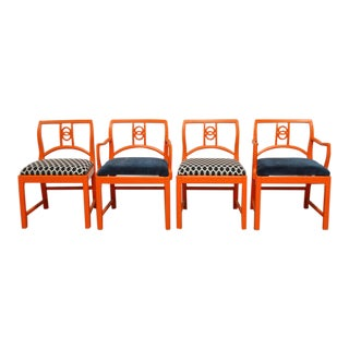 Neoclassical Orange Dining Chairs - Set of 4