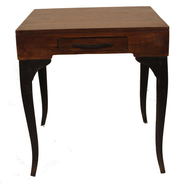 Square Accent Side End Table Storage Drawer Wood Metal for Sofa Living Room - Image 2 of 5