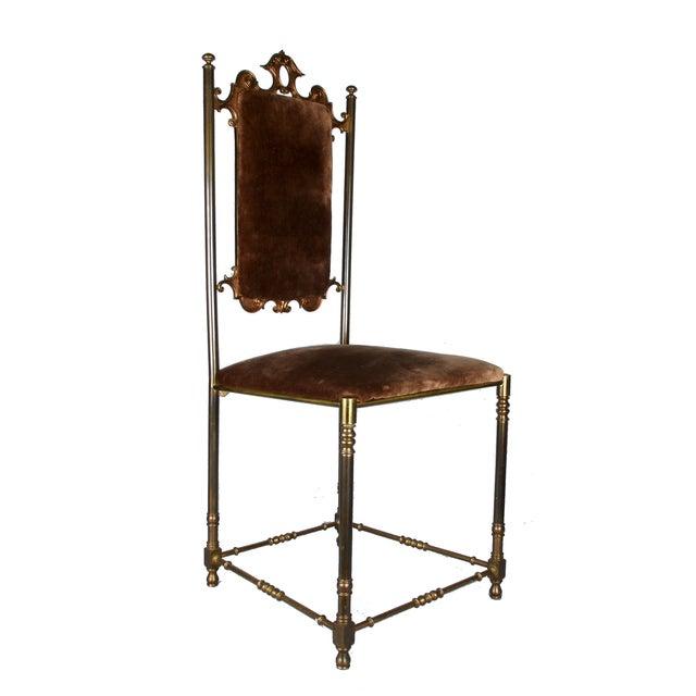Vintage Brass & Brown Velvet Vanity Accent Chair - Image 1 of 7