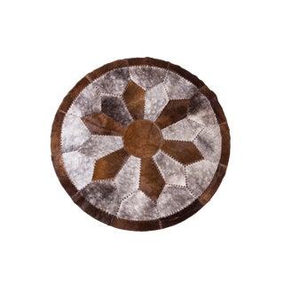 "Handmade Cowhide Patchwork Area Rug - 5'11"" x 5'11"""
