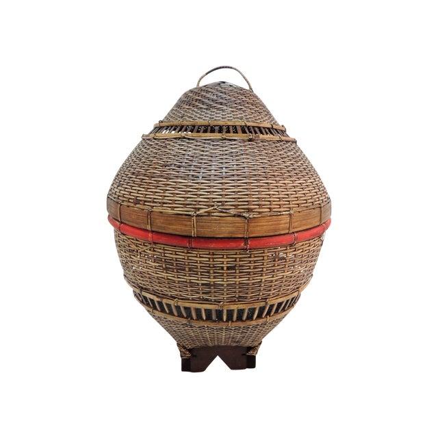 Vintage Asian Lidded Woven Basket - Image 1 of 4