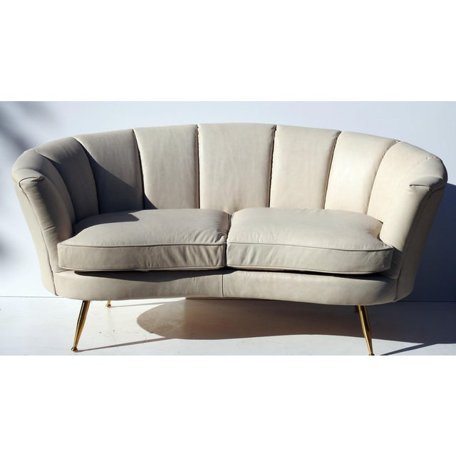 Modern Italian Leather Loveseat - Image 2 of 6