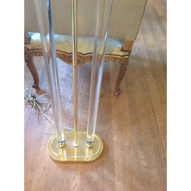 Image of Vintage Lucite and Brass Floor Lamp