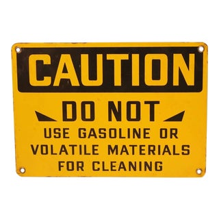 "1930's American Factory Porcelain Sign "" Caution """