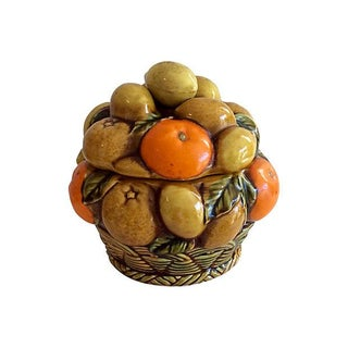 Inarco Vintage Ceramic Fruit Basket Cookie Jar