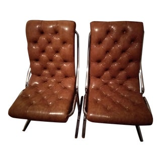 Daystorm Mid-Century Modern Carmel Tufted Vinyl & Chrome Chairs - A Pair