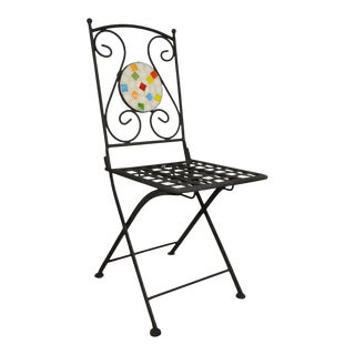 Wrought Iron Mosaic Tile Folding Garden Dining Outdoor Chair