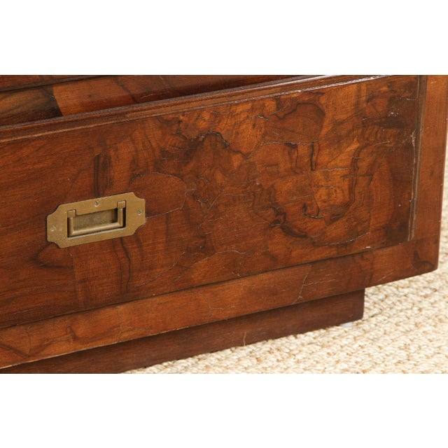 Campaign Style Stained Olive Burlwood Dresser - Image 7 of 8