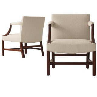 Mahogany Library Armchairs in the Style of Edward Wormley - a Pair
