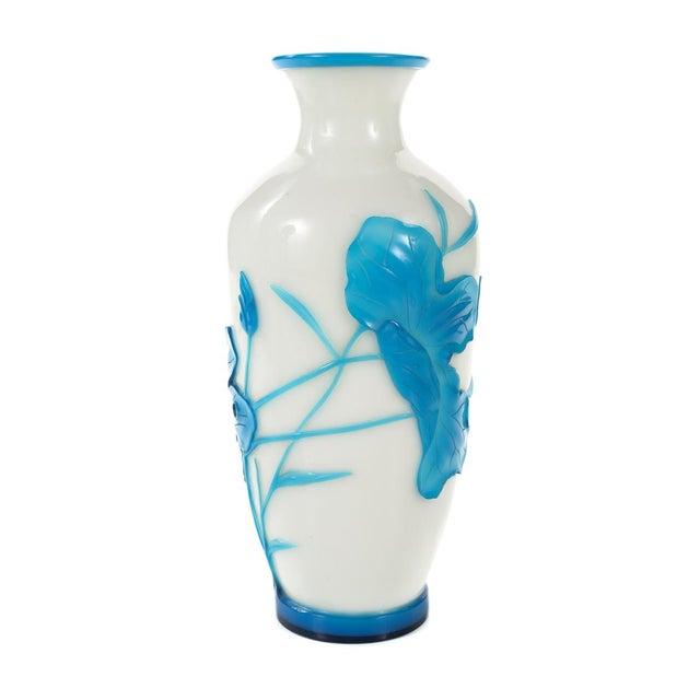 Chinese Peking Glass Blue & White Vases - Pair - Image 5 of 9