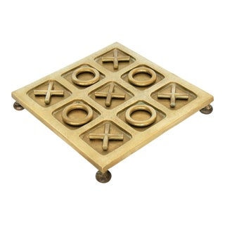 Vintage Pop Art Solid Brass Tic Tac Toe Board Game With Solid Brass X and O's Mid Century Modern MCM Millenial
