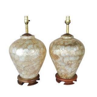Vintage Capiz Shell Table Lamps on Teak - A Pair