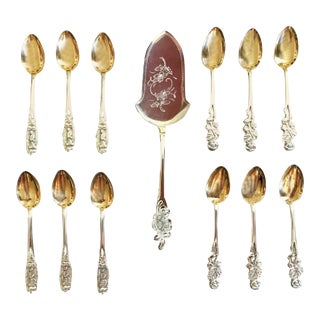 French Teaspoons and Silver & Gold Cake Server, 1950s - Set of 13