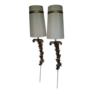 Neoclassical Gilt Wall Sconce Lamps - a Pair