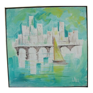 Mid-Century Modern Impressionist City Scape Painting Le Mark